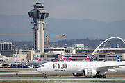 A Fiji Airways A350-900 taxis after landing at Los Angeles International Airport (LAX) on Saturday, February 29, 2020 in Los Angeles. (Brandon Sloter/Image of Sport)