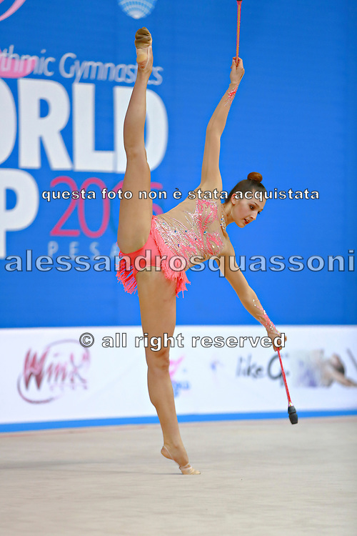 Mickova Monika of Czech Republic competes during the rhythmic gymnastics individual clubs qualification of the World Cup at Adriatic Arena on April 2, 2016 in Pesaro, Italy.<br /> Monika was born in Brno in Czech Republic in 1991.