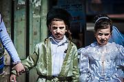 Orthodox children Purim costume Photographed in Bnei Brak, Israel