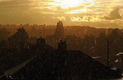 © Licensed to London News Pictures. 28/06/2014<br /> A view across Orpington in Kent towards Bromley .<br /> Heavy rain and rainbows this evening  (28.06.2014) across the South East of the UK.<br /> (Byline:Grant Falvey/LNP)