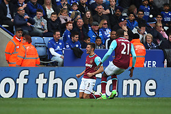 Aaron Cresswell of West Ham United (L) celebrates scoring his sides second goal - Mandatory by-line: Jack Phillips/JMP - 17/04/2016 - FOOTBALL - King Power Stadium - Leicester, England - Leicester City v West Ham United - Barclays Premier League