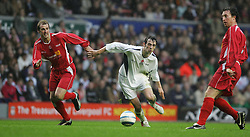 LIVERPOOL, ENGLAND - SUNDAY MARCH 27th 2005: Liverpool Legends' Paul Dalglish and Robbie Fowler sandwich Celebrity XI's Ralf Little during the Tsunami Soccer Aid match at Anfield. (Pic by David Rawcliffe/Propaganda)