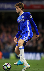 """Chelsea's Marcos Alonso during the Premier League match at Stamford Bridge, London. PRESS ASSOCIATION Photo. Picture date: Monday May 8, 2017. See PA story SOCCER Chelsea. Photo credit should read: Mike Egerton/PA Wire. RESTRICTIONS: EDITORIAL USE ONLY No use with unauthorised audio, video, data, fixture lists, club/league logos or """"live"""" services. Online in-match use limited to 75 images, no video emulation. No use in betting, games or single club/league/player publications."""