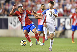 September 1, 2017 - Harrison, New Jersey, U.S - Costa Rica midfielder DAVID GUZMÁN (20) midfielder CHRISTIAN PULISIC (10) battle for the ball during a World Cup Qualifier at Red Bull Arena in Harrison New Jersey Costa Rica defeats USA 2 to 0 (Credit Image: © Brooks Von Arx via ZUMA Wire)