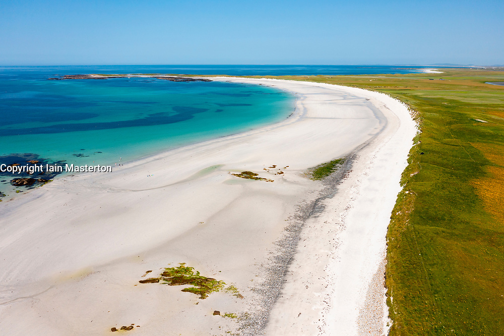 Aerial view from drone of white sands on beach and Machir to rear on west coast of South Uist at Kildonan, Outer Hebrides, Scotland, UK