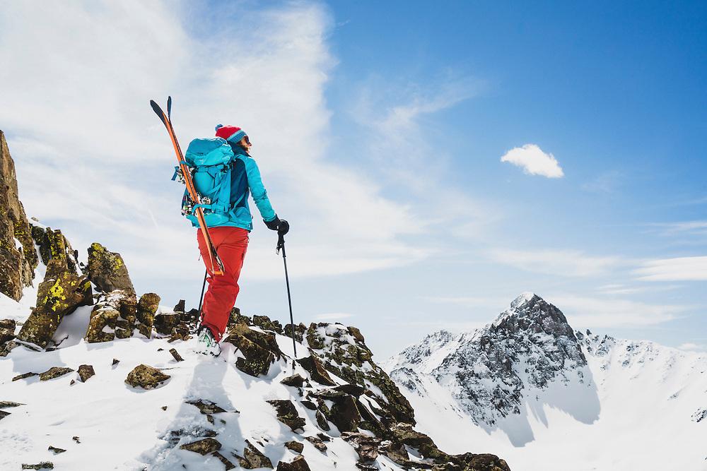 Averill Doering ski tours near the Opus Hut, San Juan Range, Colorado.