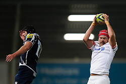 Saracens Lock (#5) Mouritz Botha wins a lineout during the first half of the match - Photo mandatory by-line: Rogan Thomson/JMP - Tel: Mobile: 07966 386802 16/11/2012 - SPORT - RUGBY - Salford City Stadium - Eccles. Sale Sharks v Saracens - LV= Cup Round 2