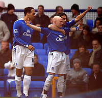 Photo: Paul Greenwood.<br />Everton v Blackburn Rovers. The Barclays Premiership. 10/02/2007. Everton's Andy Johnson and Tim Cahill celebrate the opening goal