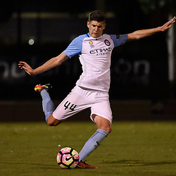 BRISBANE, AUSTRALIA - DECEMBER 22: Jordon Hall of Melbourne City kicks the ball during the round 4 Foxtel National Youth League match between the Brisbane Roar and Melbourne City at AJ Kelly Field on December 22, 2016 in Brisbane, Australia. (Photo by Patrick Kearney/Brisbane Roar)