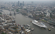 Azamara Journey, one of the largest cruise ships ever to com e into central London arrives in the River Thames berthing in front of the Tower Bridge... Pictures call _ 07771507779..PR Sarah Rathbone - 07967361511