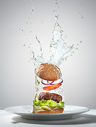 Series of images created for Weight Loss feature in Men's Health magazine Aug 2012 depicting selected healthy recipes with dynamic approach to food photography. The shots portray how the food would look in space in the state of weightlessness. Defying gravity, everything from the food to the condiments is floating in midair.