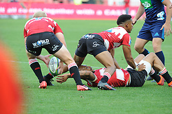 Lionel Mapoe lays a pass back to srcumhalf Ross Cronje. Lions vs Blues during a Super Rugby match at the Emirates Airlines Park Stadium, Ellis Park, Johannesburg, South Africa. Picture: Karen Sandison/African News Agency (ANA)