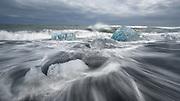 The Jokulsarlon glacier lagoon is in south-Iceland.