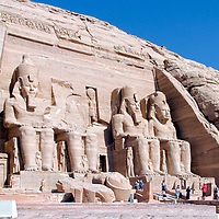 Abu Simbel. Egypt. Tourists surround and admire one of the most famous temples of the world – the 13th century BC Great Temple of Ramses II at Abu Simbel.