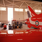 Hawk jet and spares in the hangar of the Red Arrows, Britain's RAF aerobatic team.