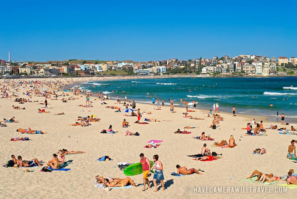 Sunbathers at Bondi Beach, Sydney, New South Wales, Australia
