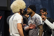 Khabib Nurmagomedov faces off with Michael Johnson during the UFC 205 weigh-ins at Madison Square Garden in New York, New York on November 11, 2016.  (Cooper Neill for The Players Tribune)