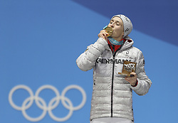 PYEONGCHANG, Feb. 15, 2018  Gold medalist Eric Frenzel from Germany poses for photos during the medal ceremony of individual gundersen NH/10KM event of nordic combined at Pyeongchang 2018 Winter Olympic Games at Medal Plaza, PyeongChang, South Korea, Feb. 15, 2018. (Credit Image: © Wu Zhuang/Xinhua via ZUMA Wire)