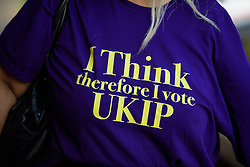 ©  London News Pictures. 17/09/2016. Bournemouth, UK. A party supporter wearing a UKIP t-shirt arrives at Day 2 of the 2016 UKIP Autumn Conference, held at the Bournemouth International Centre in Bournemouth, Dorset. On Friday, the party elected Diane James as their new leader, following Nigel Farage resignation after the UK voted to leave the EU in a referendum..  Photo credit: Ben Cawthra/LNP