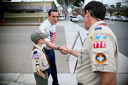 May 29, 2017 - Encinitas, CA, USA - California Congressman Darrell Issa shakes hands with supporters during a Memorial Day Ceremony outside of an American Legion Hall in Encinitas, CA on Monday, May 29, 2017. (Credit Image: © Sandy Huffaker via ZUMA Wire)