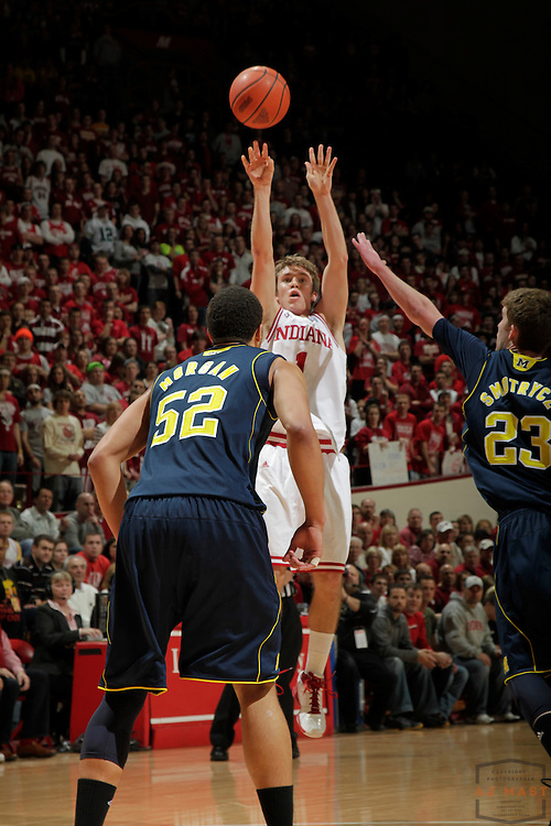 15 January 2011: Indiana guard Jordan Hulls (1) as the Indiana Hoosiers played the Michigan Wolverines in a college basketball game in Bloomington, Ind.