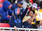 A USA fan in the stands during the USA Sevens Rugby Series at Sam Boyd Stadium, Las Vegas, USA on 2 March 2018. Picture by Ian  Muir.