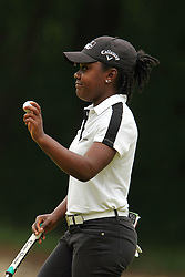 May 26, 2018 - Ann Arbor, Michigan, United States - Mariah Stackhouse of Riverdale, GA greets fans after making her putt on the 4th green during the third round of the LPGA Volvik Championship at Travis Pointe Country Club, Ann Arbor, MI, USA Saturday, May 26, 2018. (Credit Image: © Amy Lemus/NurPhoto via ZUMA Press)