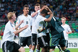 Oliver Schnitzler of Germany celebrates saving a penalty shot during the UEFA European Under-17 Championship Group A match between Germany and France on May 10, 2012 in SRC Stozice, Ljubljana, Slovenia. Germany defeated France 3:0. (Photo by Matic Klansek Velej / Sportida.com)
