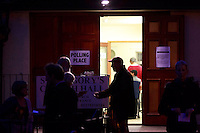 St Gregory's Church Hall in South East of Edinburgh busy of members of the public who are voting before 10pm.<br /> 18th September 2014 polling vote for Scotland independence. Pako Mera/Universal News And Sport (Europe) 18/09/2014