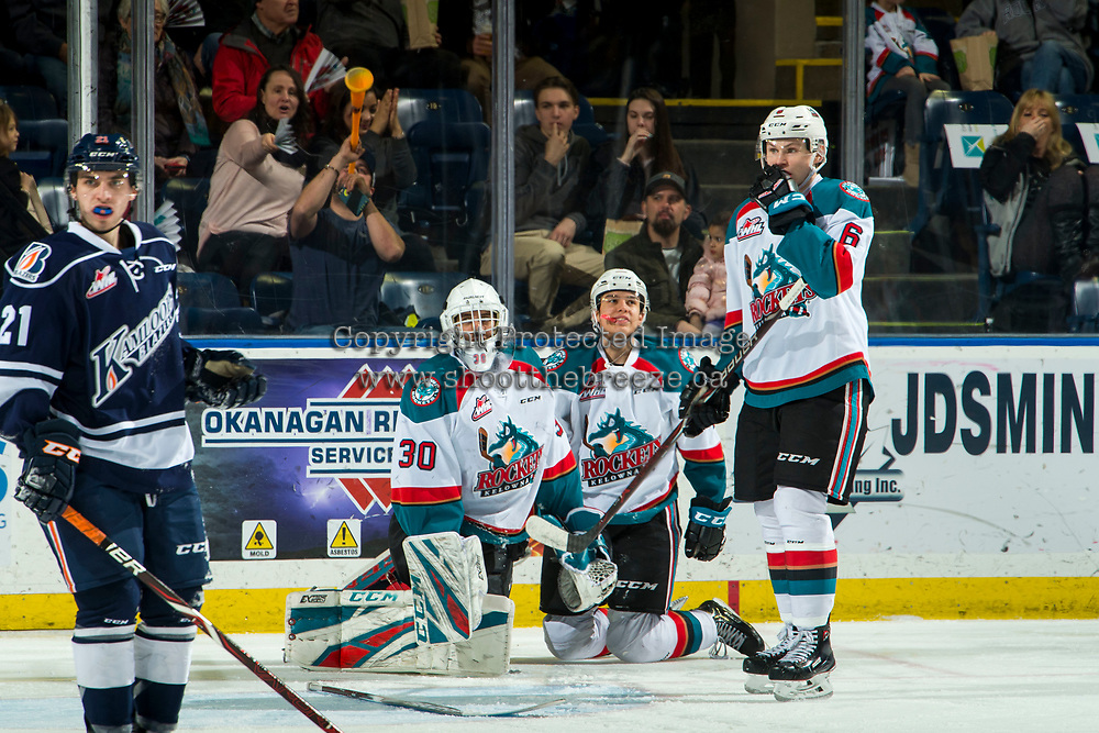 KELOWNA, CANADA - FEBRUARY 2: Roman Basran #30, Devin Steffler #4 and Kaedan Korczak #6 of the Kelowna Rockets stop on the ice after the whistle during second period against the Kamloops Blazers  on February 2, 2019 at Prospera Place in Kelowna, British Columbia, Canada.  (Photo by Marissa Baecker/Shoot the Breeze)