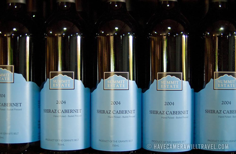 Wine bottles at Summit Estate Winery in Stanthorpe, Queensland, Australia