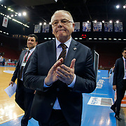 Anadolu Efes's coach Dusan Ivkovic during their Turkish Basketball League Play Off Semi Final round 1 match Anadolu Efes between Trabzonspor at Abdi Ipekci Arena in Istanbul Turkey on Friday 29 May 2015. Photo by Aykut AKICI/TURKPIX
