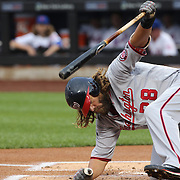 NEW YORK, NEW YORK - July 08: Jayson Werth #28 of the Washington Nationals hits the ground to avoid a pitch from pitcher Noah Syndergaard #34 of the New York Mets pitching during the Washington Nationals Vs New York Mets regular season MLB game at Citi Field on July 08, 2016 in New York City. (Photo by Tim Clayton/Corbis via Getty Images)