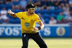Gloucestershire's Benny Howell throws to the keeper<br /> <br /> Photographer Simon King/Replay Images<br /> <br /> Vitality Blast T20 - Round 8 - Glamorgan v Gloucestershire - Friday 3rd August 2018 - Sophia Gardens - Cardiff<br /> <br /> World Copyright © Replay Images . All rights reserved. info@replayimages.co.uk - http://replayimages.co.uk