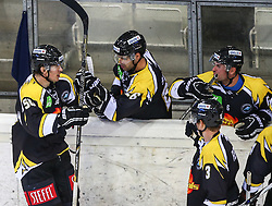 31.08.2013, Albert Schultz Eishalle, Wien, AUT, European Trophy, UPC Vienna Capitals vs HV71, im Bild Torjubel Mario Fischer, (UPC Vienna Capitals, #50), Michael Schiechl, (UPC Vienna Capitals, #26) Rafael Rotter, (UPC Vienna Capitals, #6) und Justin Fletcher, (UPC Vienna Capitals, #3)  // during the European Trophy Icehockey match betweeen UPC Vienna Capitals (AUT) vs HV71 (SWE) at the Albert Schultz Eishalle, Vienna, Austria on 2013/08/31. EXPA Pictures © 2013, PhotoCredit: EXPA/ Thomas Haumer