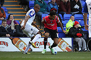 Oldham Athletic's Korey Smith battles with Tranmere Rovers' Stephen Arthurworrey. Skybet football league 1match, Tranmere Rovers v Oldham Athletic at Prenton Park in Birkenhead, England on Saturday 1st March 2014.<br /> pic by Chris Stading, Andrew Orchard sports photography.
