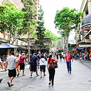 Busy pedestrian mall in the center of Brisbane City