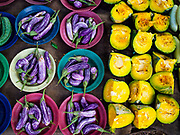 08 OCTOBER 2017 - GAMPAHA, WESTERN PROVINCE, SRI LANKA: Eggplant and squash for sale in the market in Gampaha, a community north of Colombo.    PHOTO BY JACK KURTZ