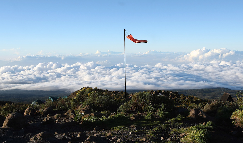 A view from the Horombo Hut on Day Two of the climb provides an incredible view above the clouds at approximately 13,000 feet.