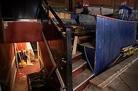 Colonial Theater restoration work - with top floor ceiling staging dismantled.  ©2020 Karen Bobotas Photographer