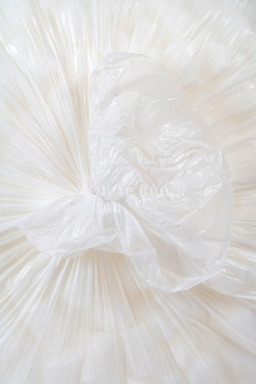 close up of the knot of a closed white plastic bag