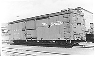 """Box car #3044 on yard at Durango, CO.<br /> D&RGW  Durango, CO  Taken by Best, Gerald M. - 9/29/1949<br /> In book """"Narrow Gauge Pictorial, Vol. III: Gondolas, Boxcars and Flatcars of the D&RGW"""" page 107"""