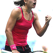 2016 U.S. Open - Day 7  Anastasija Sevastova of Latvia celebrates winning the first set against Johanna Konta of Great Britain in the Women's Singles round four match on Arthur Ashe Stadium on day six of the 2016 US Open Tennis Tournament at the USTA Billie Jean King National Tennis Center on September 4, 2016 in Flushing, Queens, New York City.  (Photo by Tim Clayton/Corbis via Getty Images)