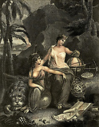 Machine colourised Illustration of Geography WE HAVE DESCRIBED GEOGRAPHY UNDER THE SEMBLANCE OF THE GODDESS  TERRA, WHO, WITH THE FEMALE FIGURE AT HER RIGHT HAND, WITH HER HAIR ORNAMENTED WITH SHELLS, CORAL, AND SEA-WEED, AS TETHYS GODDESS OF THE SEA, ARE SUPPOSED TO BE EMPLOYED IN MARKING OUT UPON A GLOBE THE DIFFERENT COUNTRIES OF THE WORLD, AND DIVIDING THEM INTO THE FOUR QUARTERS, OF EUROPE, ASIA, AFRICA, AND AMERICA. Copperplate engraving From the Encyclopaedia Londinensis or, Universal dictionary of arts, sciences, and literature; Volume VIII;  Edited by Wilkes, John. Published in London in 1810.