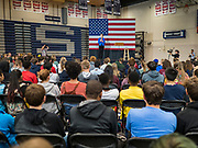 21 OCTOBER 2019 - DES MOINES, IOWA: US Senator ELIZABETH WARREN (D-MA) talks to about 500 students during an assembly at Roosevelt High School in Des Moines. Sen. Warren talked to students about her journey from childhood in Oklohoma to running for the US Presidency. Sen. Warren is campaigning to be the Democratic nominee for the US presidency in Iowa this week. Iowa traditionally hosts the the first selection event of the presidential election cycle. The Iowa Caucuses will be on Feb. 3, 2020.                   PHOTO BY JACK KURTZ