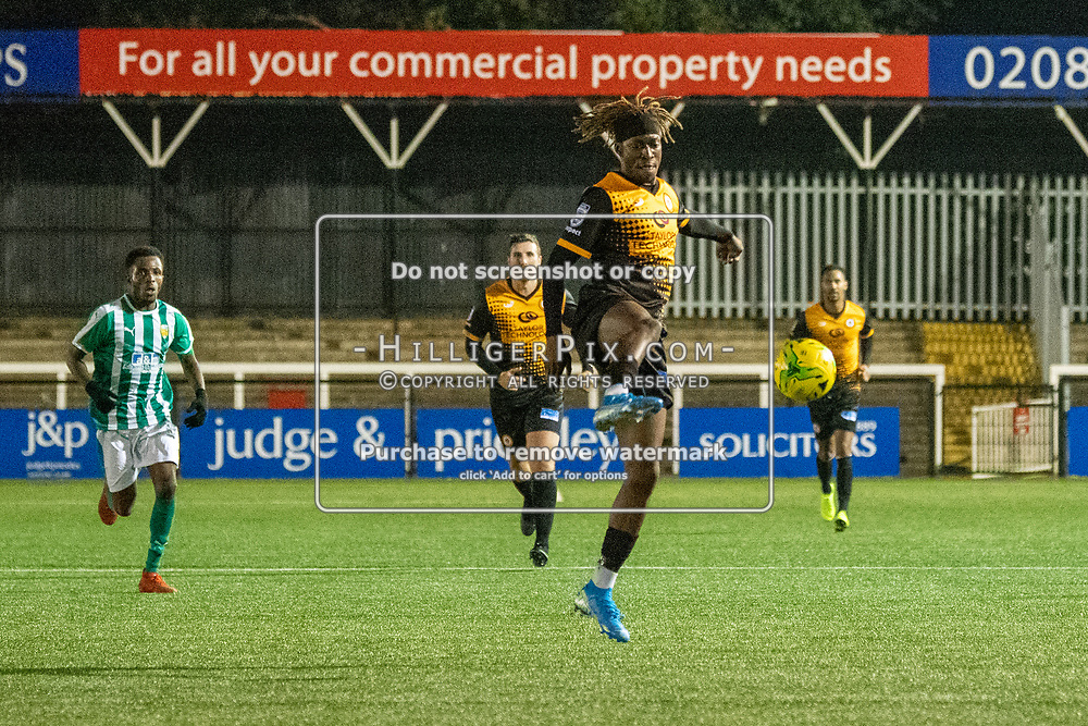 BROMLEY, UK - OCTOBER 30: Andre Coker, of Cray Wanderers FC, controls the ball during the Kent Senior Cup match between Cray Wanderers and VCD Athletic at Hayes Lane on October 30, 2019 in Bromley, UK. <br /> (Photo: Jon Hilliger)