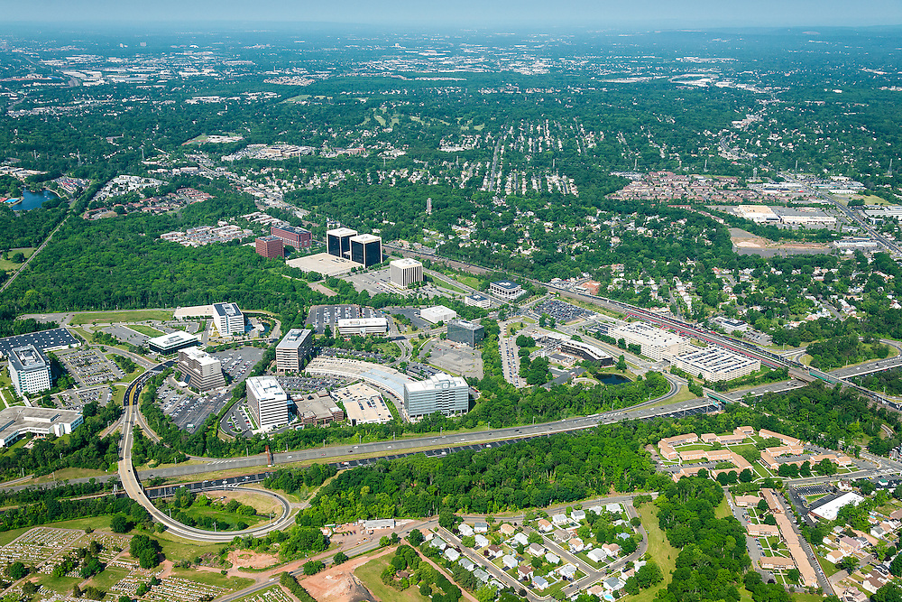 Aerial Photography of office complex in New Jersey along the Garden State Parkway in Edison.