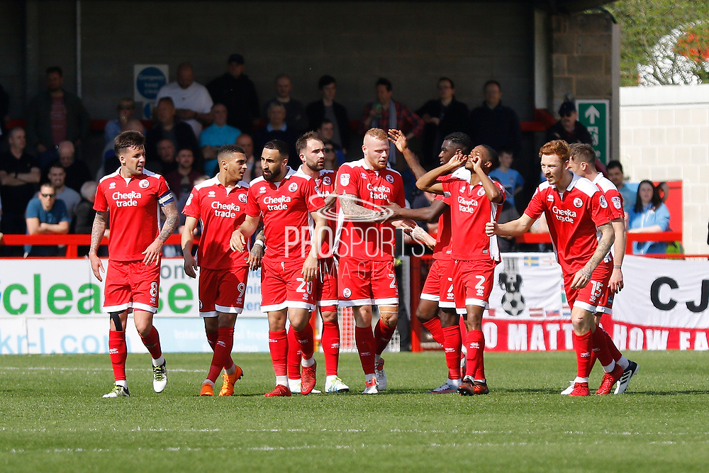 Crawley Town players celebrate a goal (score 1-1)  during the EFL Sky Bet League 2 match between Crawley Town and Coventry City at the Checkatrade.com Stadium, Crawley, England on 14 April 2018. Picture by Andy Walter.
