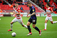 Luton Town forward James Collins (19) on the attack during the EFL Sky Bet League 1 match between Doncaster Rovers and Luton Town at the Keepmoat Stadium, Doncaster, England on 8 September 2018.