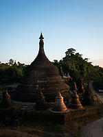 MRAUK U, MYANMAR - CIRCA DECEMBER 2017: Andaw-Thein Temple Stupa at Sunset In Mrauk U, Rakhine State.